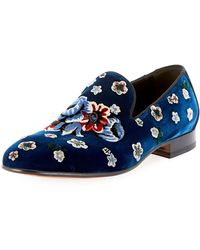 Alexander McQueen - Men's Floral-embroidered Velvet Formal Slippers - Lyst