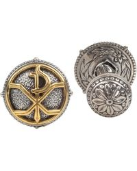 Konstantino Men's Stavros Round Cuff Links - Metallic