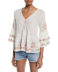 Joie - Kamile 3/4-sleeve Embroidered Blouse - Lyst