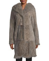 Belle Fare - Reversible Fitted Lamb Shearling Long Coat W/ Oversized Hood - Lyst