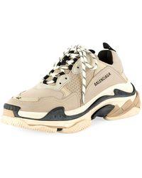 Balenciaga - Men's Triple S Mesh & Leather Sneakers - Lyst