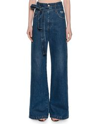 MSGM - Belted High-rise Wide-leg Jeans - Lyst