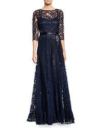 Teri Jon - 3/4-sleeve Lace Overlay Gown - Lyst