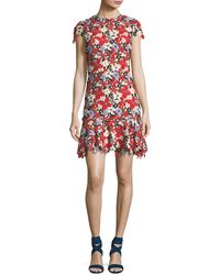Alice + Olivia - Imani Floral-lace Cap-sleeve Fitted Short Dress - Lyst
