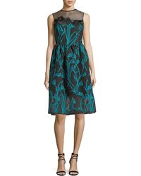 Talbot Runhof - Sleeveless Illusion Fil Coupe Snowdrop Fil Coupe Cocktail Dress - Lyst