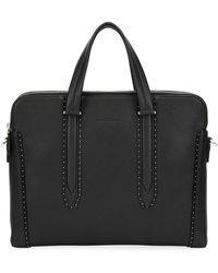 Ferragamo - Men's Firenze Studded Leather Briefcase - Lyst
