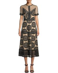 Nightcap - Pinwheel Embroidered Lace-trim Dress - Lyst