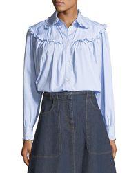 ALEXACHUNG - Frill-trim Button-front Oversized Denim Shirt - Lyst