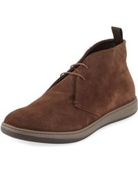 Giorgio Armani - Perforated Suede Sport Chukka Boot Brown - Lyst
