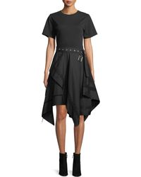 3.1 Phillip Lim - Short-sleeve Belted Dress With Handkerchief Skirt - Lyst