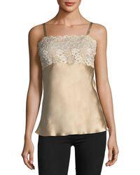Josie Natori - Lace-top Silk Camisole - Lyst