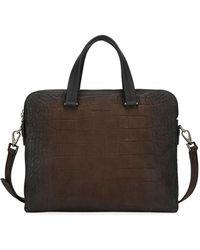 Ferragamo - Men's Firenze Animal Embossed Leather Briefcase - Lyst