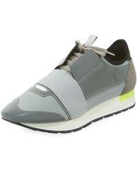 547219857e1d Balenciaga - Men s Reflective Race Runner Mesh   Leather Sneakers - Lyst