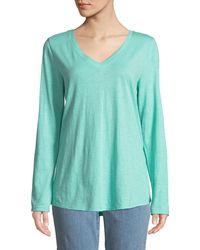 Eileen Fisher - V-neck Organic Cotton Jersey Slub Top - Lyst