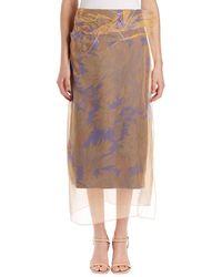 Dries Van Noten | Sagax Floral Midi Skirt W/ Organza Overlay | Lyst