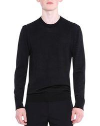 Lanvin - Crewneck Wool/silk Knit Sweater - Lyst