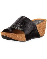 eb123177f6c Donald J Pliner - Ginie Metallic Snake-print Leather Wedge Slide Sandals -  Lyst