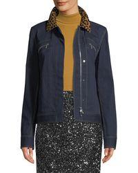 Lafayette 148 New York - Kesha Denim Jacket W/ Leopard Collar - Lyst