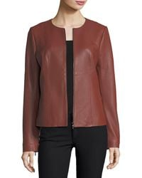 Neiman Marcus - Center-zip Leather Jacket - Lyst