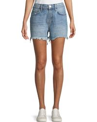 "Current/Elliott - The His ""yours/mine"" Back-graphic Cutoff Denim Shorts - Lyst"