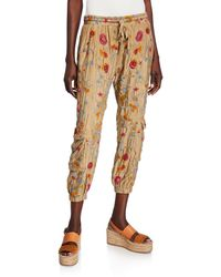 Johnny Was Tak Floral Embroidered Drawstring Cargo Pants - Green
