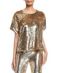 Figue - Layla Short-sleeve Sequin Blouse - Lyst