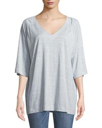 Eileen Fisher - Half-sleeve Striped Organic Linen Jersey Top - Lyst