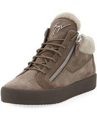 Giuseppe Zanotti - Men's Shearling-lined Suede Mid-top Sneakers - Lyst