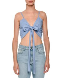 MSGM - Pinstriped Tie-front Wrap Crop Top - Lyst
