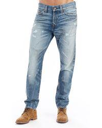 True Religion - Logan Distressed Straight-leg Jeans - Lyst