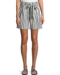 St. John - Striped Linen Twill Tie-front Shorts - Lyst