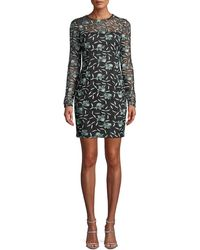 Aidan By Aidan Mattox - Long-sleeve 3-d Floral Lace Fitted Mini Cocktail Dress - Lyst