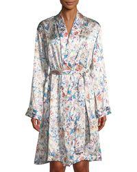 Derek Rose - Brindisi Short Floral-print Silk Robe - Lyst