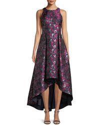 Aidan By Aidan Mattox - Printed Jacquard High-low Sleeveless Gown - Lyst