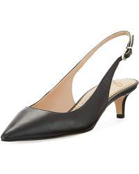 b160a1338a5d17 Sam Edelman - Ludlow Leather Kitten-heel Slingback Pumps - Lyst