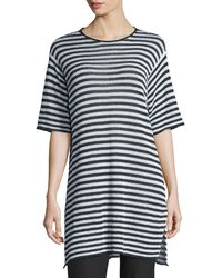 Eileen Fisher - Half-sleeve Striped Organic-linen Sweater - Lyst