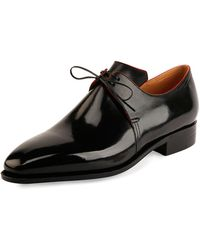 49926229032 Lyst - Corthay Arca Patent Leather Derby Shoe With Gold Piping in ...