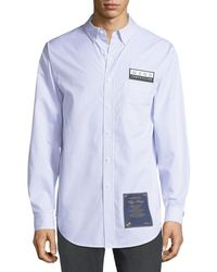 Alexander Wang - Men's House Rules-patch Striped Oxford Pocket Shirt - Lyst