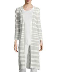 Misook - Long-sleeve Sheer-striped Long Duster Coat - Lyst