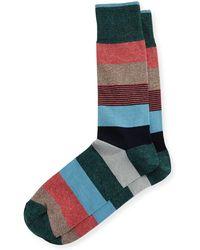Neiman Marcus - Wide Mixed-stripe Jaspe Socks - Lyst