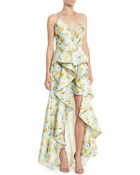 Badgley Mischka - Floral-print Mikado Ruffle High-low Gown - Lyst