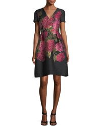 Carolina Herrera - V-neck Short-sleeve Floral Jacquard Dress - Lyst