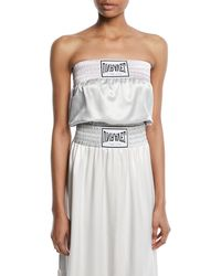 Unravel - Strapless Boxing-inspired Satin Top - Lyst