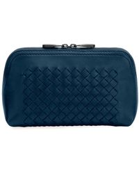 55a3cddd14 Lyst - Bottega Veneta Intrecciato Medium Woven Clutch Bag in Black