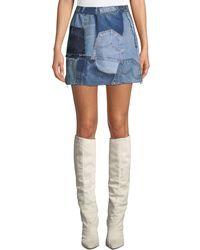 RE/DONE - Patchwork Frayed Denim Mini Skirt - Lyst