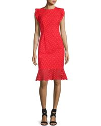Sachin & Babi - Harlow Sleeveless Embroidered Eyelet Cocktail Dress Red - Lyst