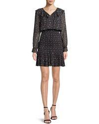 Emporio Armani - Long-sleeve Smocked Stargazer-print Georgette Dress - Lyst