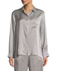 Asceno - Monochrome Geometric-print Silk Long-sleeve Pajama Top - Lyst 0191ae669