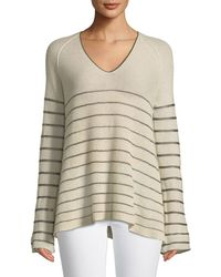Forte Forte - Striped V-neck Cashmere Sweater - Lyst