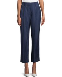 Ralph Lauren Collection - Kenley Striped Wool Wide-leg Pants - Lyst